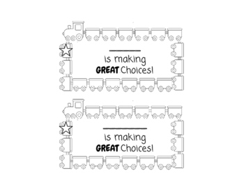 Positive Behavior Punch Card - Train Theme