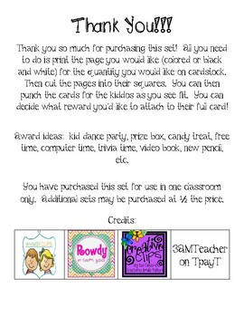 Positive Behavior Punch Cards - Easter Themed - Super Cute!