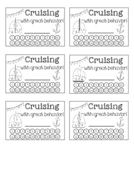 Positive Behavior Punch Cards Nautical Theme
