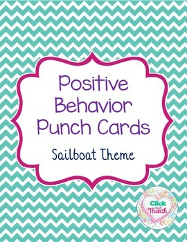 Positive Behavior Punch Cards Sailboat Theme