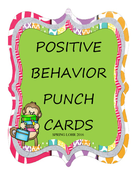 Positive Behavior Punch Cards - School Monkey Design