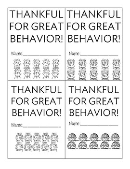 Positive Behavior Punch Cards - Thanksgiving Themed - So Cute!