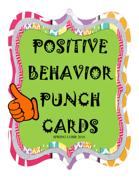 Positive Behavior Punch Cards - Thumbs Up Design