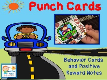 Positive Behavior Punch Cards and Reward Notes: Kids Cars