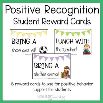Positive Behavior Recognition Reward Cards