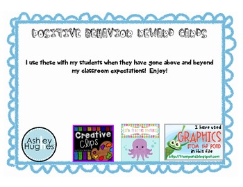Positive Behavior Reward Cards