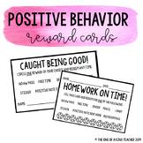 Positive Behavior Reward Cards