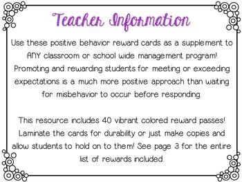 Positive Behavior Reward Cards (40 Rewards!)