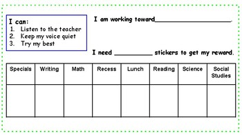 Positive Behavior Reward Chart