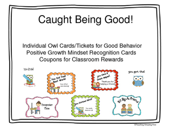 Positive Behavior Tickets, Growth Mindset Cards & Coupons