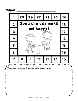 Positive Behaviour Sticker Chart