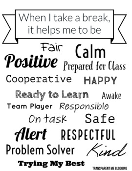 Positive Calming Break Reinforcement Posters