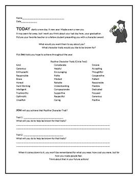 Positive Character Trait Worksheet - Help Build a Positive School Environment
