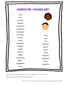 Positive Character Traits Vocabulary List