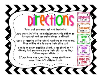 Positive Classroom Behavior Chart CHEVRON