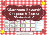 Classroom Rewards Coupons & Passes - editable!