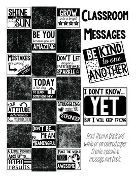 Positive Classroom Messages Posters and Mini Book