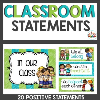 Positive Classroom Statements in Lime and Teal