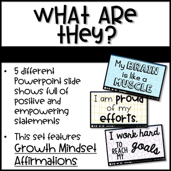 Positive Classrooms Affirmations - GROWTH MINDSET - Chants for Students