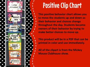 Positive Clip Chart : Disney Mickey Mouse Clubhouse Themed