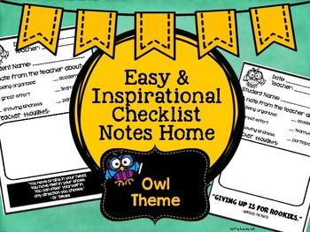 Positive Communication Note: Owl Theme