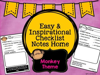 Positive Communication Note: Monkey Theme