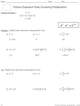 Positive Exponent Rules (Product Rules) Notes and Practice (Differentiated)