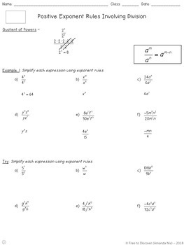 Positive Exponent Rules (Quotient Rules) Notes and Practice (Differentiated)