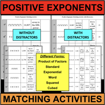 Positive Exponents Matching Activity Exponential Form Prod