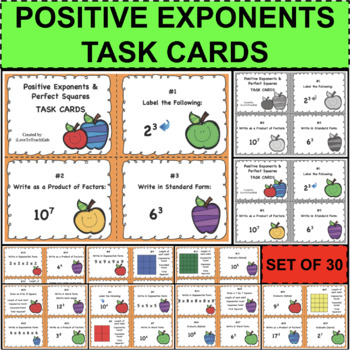 Positive Exponents Perfect Squares Task Cards Set of 30 Fun Activity Assessment