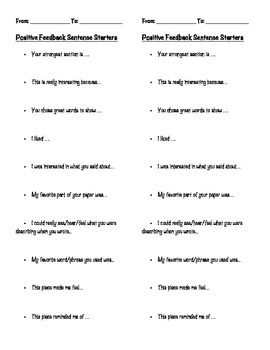 Positive Feedback Sentence Stems to Encourage Specific Praise of Peers' Writing