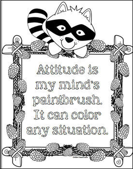 Positive Growth Mindset Coloring Book - Woodland / Forest Animals