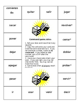 Positive Informal Commands Board Game- Spanish by Cate ...