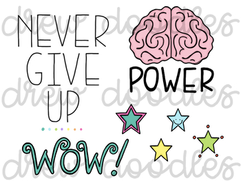 Positive Messages Doodles Digital Clip Art Set