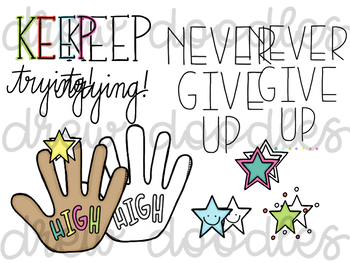 Positive Messages Doodles Digital Clip Art Set- Color and Black Line COMBO