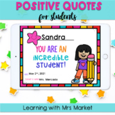 Digital Positive Quotes Certificates for Students | Distan