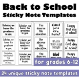 Back to School Sticky Note Templates