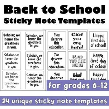 Back to School Sticky Note Templates