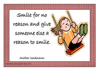 "Positive Motivational Learning ""Smile"" Quote Posters"