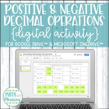 Positive & Negative Decimal Operations DIGITAL Drag and Drop Activity