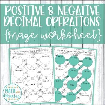 Positive & Negative Decimal Operations Maze Worksheet - 7.NS.A.3