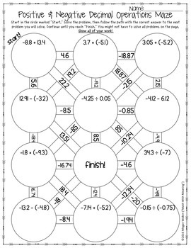 positive negative decimal operations maze worksheet by math with meaning. Black Bedroom Furniture Sets. Home Design Ideas
