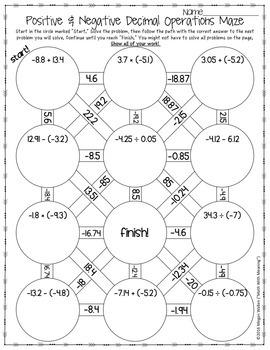 Positive & Negative Decimal Operations Maze Worksheet by ...