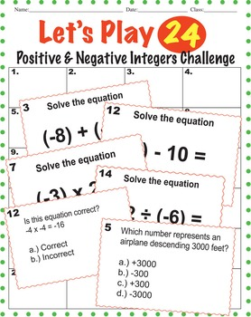 Positive and Negative Integers BUNDLE - Game, Interactive Notebook, Guided Notes