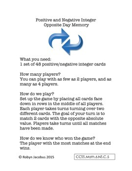 6th/7th Grade CCSS Math- Positive Negative Integer Card Game- 3 ways to play