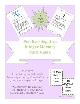 6th/7th Grade CCSS Math- Positive Negative Integer Card Ga