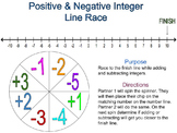 Positive & Negative Integer Line Race