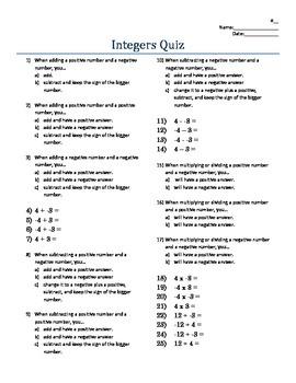 Positive & Negative Integer Operation Rules Quiz