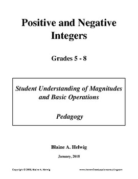 Positive & Negative Integer: Pedagogical Concept of Magnitudes & Operations-FREE