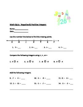 Positive & Negative Integers Quiz